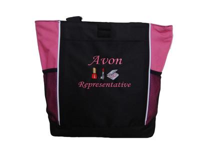 AVON Representative Sales Rep Nail Polish Lipstick Compact Foundation Powder TROP PINK Tote Bag MONO CORSIVA Font Style