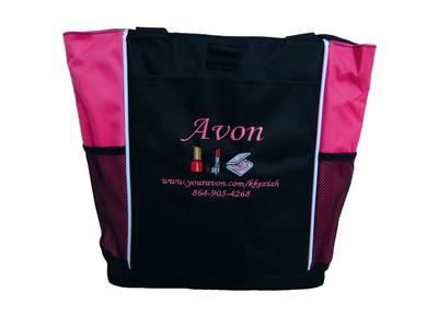 AVON Representative Sales Rep Website Marketing Nail Polish Lipstick Compact HOT PINK Tote Bag MONO CORSIVA Font Style