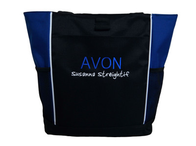 AVON Representative Sales Custom Personalized ROYAL BLUE Tote Bag ARIAL and JENKINS Font Style