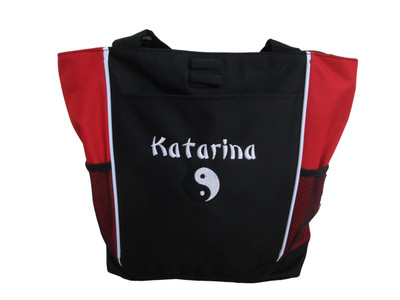 Ying Yang Asian Peace Karate Marital Arts Custom Personalized RED Tote Bag  Font Style BAMBOO
