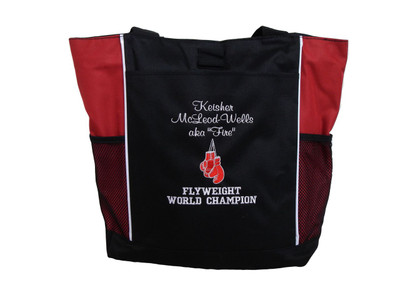 Boxing Gloves Karate Kick Boxing Martial Arts Fighting Flyweight Champion Custom Personalized RED Tote Bag Font Style CASUAL SCRIPT and VARSITY