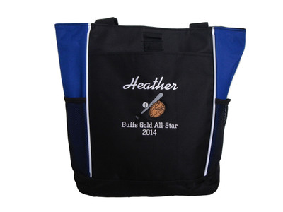 Baseball Softball Bat Glove Little League All Star Team Mom ROYAL BLUE Zippered Tote Bag Font Style ISLAND and CHICAGO