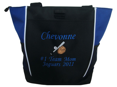 Baseball Softball Bat Glove Little League All Star Team Mom ROYAL BLUE Zippered Tote Bag Font Style MONO CORSIVA