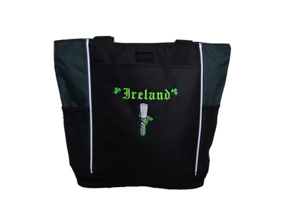 Ghillie Girl Shoes Shamrock Celtic Irish Jig Dance Ireland Reel Princess HUNTER GREEN Zippered Tote Bag Font Style OLDE ENGLISH