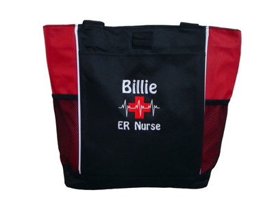 Heartbeat First Aid Cross EKG Medical ER Nurse Emergency Room Trauma RED Tote Bag Font Style DRIFTER FONT