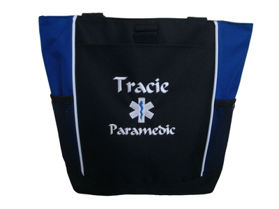 Star of Life ROYAL BLUE Fire Rescue Paramedic EMT EMS MEDIC ER Nurse Emergency 911 Tote Font Style CALLIGRAPHY