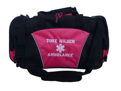 Star of Life HOT PINK DUFFEL Ambulance First Responder EMT EMS Paramedic Medic RN Emergency Hospital Font Style VARSITY