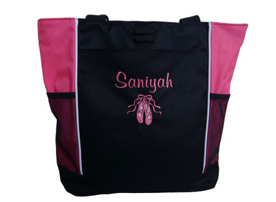 Ballet Shoes Ballerina Dancer HOT PINK Zippered Tote Bag Font Style CASUAL SCRIPT