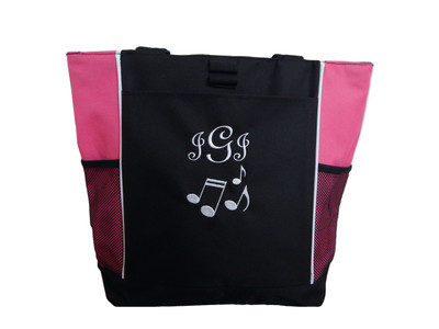 Music Notes Band Chorus Choir Glee Theater Drama Club Piano Teacher HOT PINK Zippered Tote Bag Monogrammed Font Style FRENCH SCRIPT