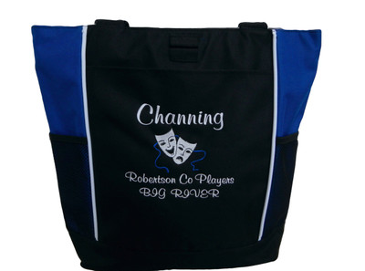 Theater Drama Masks Comedy Tragedy Personalized Embroidered Zippered Tote Bag