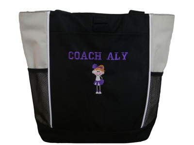Stick Cheerleader Cheer Poms Personalized Embroidered Zippered Tote Bag STONE Zippered Tote Bag Font Style VARSITY