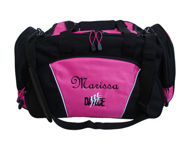 Dancers Dance Ballet Personalized Embroidered HOT PINK DUFFEL Font Style FRENCH SCRIPT