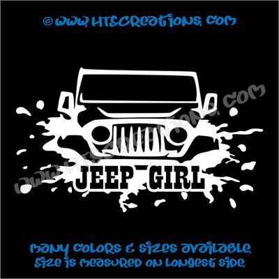 Jeep Girl Off Road Mudding 4x4 Vinyl Decal WHITE