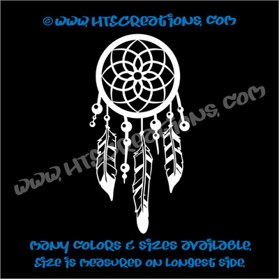 Dreamcatcher Native American Feather Beads Indian Vinyl Decal WHITE