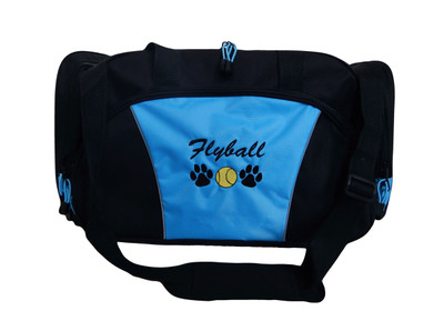 Paw Prints FLYBALL Tennis Ball Personalized Embroidered LIGHT BLUE DUFFEL Font Style ROUNDED BLOCK