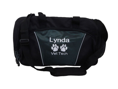 Paw Prints Vet Tech Personalized Embroidered HUNTER GREEN DUFFEL Font Style ARIAL