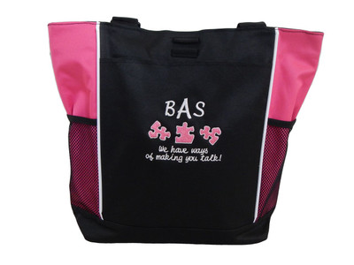 Speech Language Pathologist SLP Autism Ways Making You Talk Personalized Embroidered Zippered  TROPICAL HOT PINK Tote Bag Font Style CURSIVE