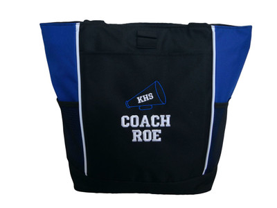 Cheer Cheerleader Bullhorn Megaphone Personalized Embroidered ROYAL BLUE Zippered Tote Bag Font Style VARSITY