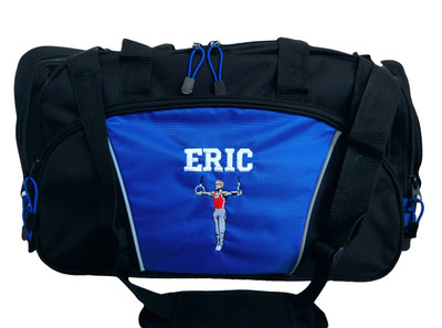 Male Gymnast Rings Gymnastics Iron Man Personalized Embroidered ROYAL BLUE DUFFEL Font Style VARSITY
