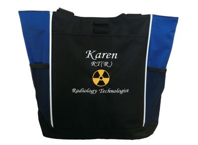 Radiation Radiologist Rad Tech Personalized Embroidered Zippered ROYAL BLUE Tote Bag Font Style MONO CORSIVA
