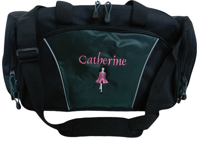 Irish Dancer Dance Ghillie Girl Celtic Personalized Embroidered Personalized Dark HUNTER GREEN DUFFEL bag Font Style OLDE ENGLISH (Black DRESS with red TRIM)