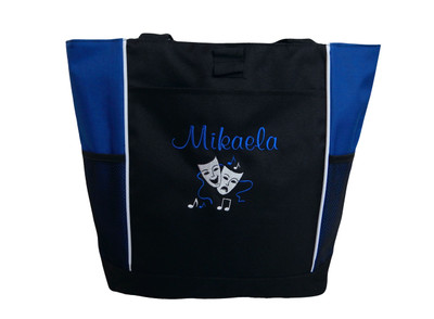 Theater Mask Comedy Tragedy Music Notes Chorus Drama Personalized Embroidered ROYAL BLUE Zippered Tote Bag Font Style CASUAL SCRIPT
