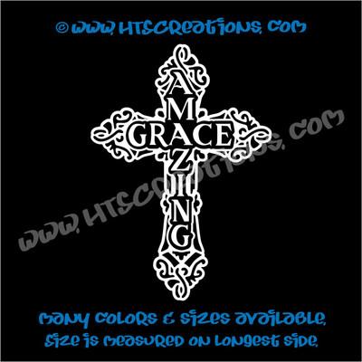 Celtic Cross Irish Ireland Religious Church Amazing Grace Vinyl Decal WHTE