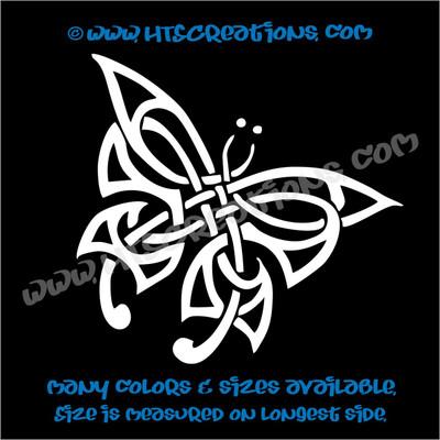 Butterfly Celtic Irish Ireland Religious Church Knot Vinyl WHITE