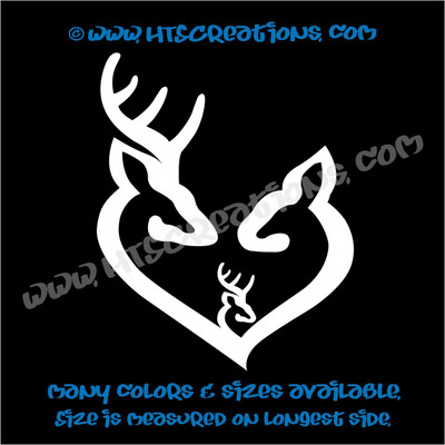 Deer Doe Family Hunting Buck Elk Mom Dad Baby Kids Love Vinyl Car Truck Boat Decal Sticker WHITE