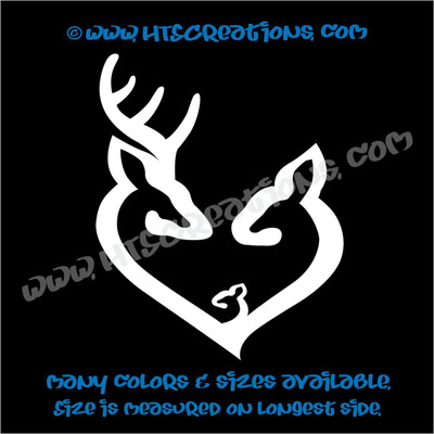 Deer Doe Family Hunting Buck Elk Mom Dad Baby Kids Love Car Truck Boat Vinyl Truck Decal Sticker WHITE