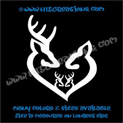 Deer Doe Family Hunting Buck Elk Mom Dad 2 Kids Love Vinyl Car Truck Boat Decal Sticker WHITE