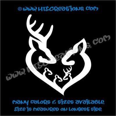 Deer Doe Family Hunting Buck Elk Mom Dad 3 Kids Love Vinyl Car Truck Boat Decal Sticker WHITE