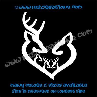 Deer Doe Family Hunting Buck Elk Mom Dad 3 Boys Girls Kids Love Vinyl Car Truck Boat Decal Sticker WHITE