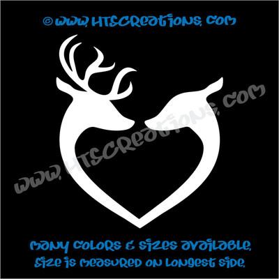 Deer Doe Reindeer Hunting Buck Elk Love Couple Wedding Vinyl Car Decal Sticker WHITE
