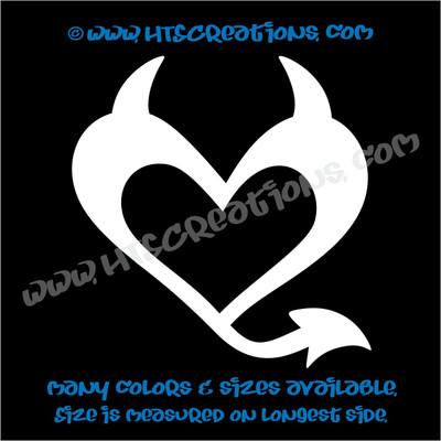 Devil Heart Horns Romance Friendship Sexy Love Car Truck Laptop Wall Vinyl Decal WHITE
