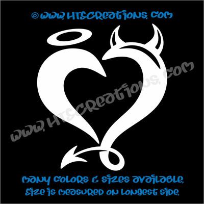 Devil Horns Angel Halo Heart Romance Friendship Sexy Love Car Truck Laptop Wall Vinyl Decal WHITE