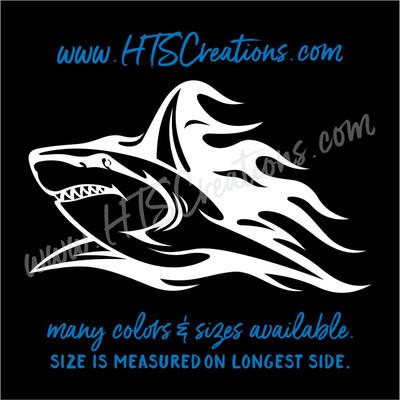 Shark Tribal Tattoo Hawaii Sea Life Vinyl Decal Laptop Car Door Mirror Truck Boat Vanity Toilet WHITE