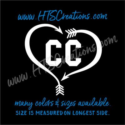 Cross Country XC Track & Field Running Heart Arrow Vinyl Decal Laptop Car Door Mirror Truck Vanity Boat WHITE