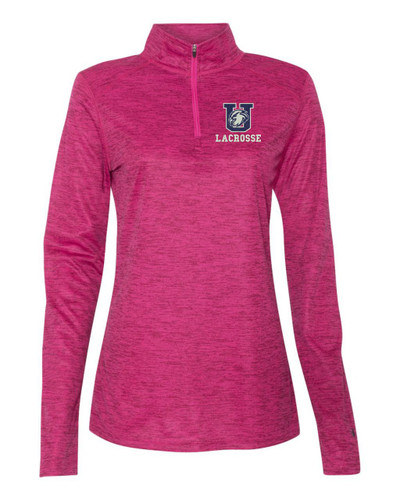 Urbana Hawks LACROSSE Performance Quarter Zip LADIES Sweatshirt Tonal Blend Badger Polyester Many Colors Available HOT PINK