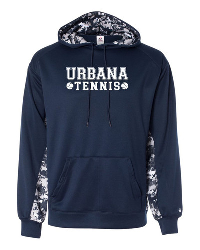 UHS Urbana Hawks TENNIS Hooded Performance Sweatshirt Badger Digiprint NAVY Polyester ADULT & YOUTH Sizes Available