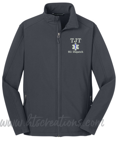 911 Dispatcher Star of Life Fire Rescue FF Paramedic Medic Softshell Jacket BATTLESHIP GREY Font Style SWEETHEART