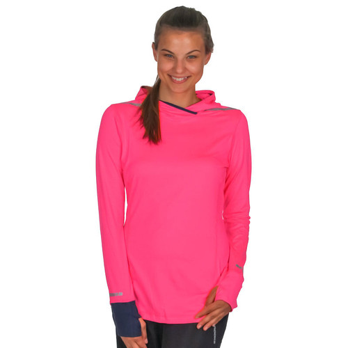 Brooks Running Women's Brite Pink Hoodie Long Sleeve Pullover Top
