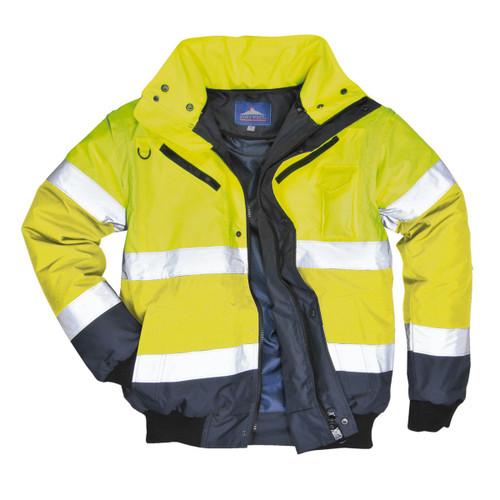 Portwest Mens Hi Viz Reflective Safety 3 in 1 Bomber Vest Jacket