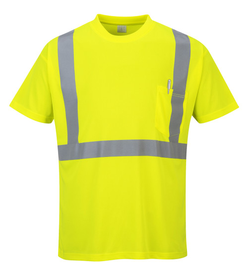Portwest Hi- Vis Pocket T-Shirt - SET OF TWO : Front View Yellow