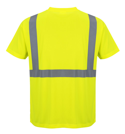 Portwest Hi- Vis Pocket T-Shirt - SET OF TWO : Back View Yellow