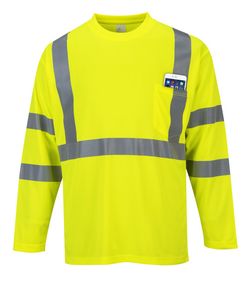 Portwest Hi-Vis Long Sleeve Pocket T-Shirt - SET OF TWO: Front View Yellow