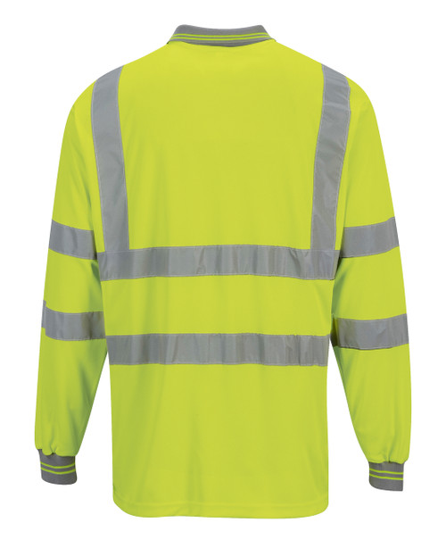 Portwest Hi-Vis Long Sleeved Polo - SET OF TWO: Back View yellow
