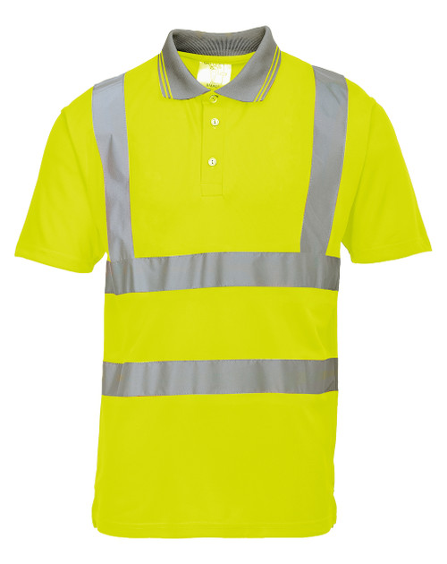 Portwest Hi-Vs Short Sleeve Polo - SET OF TWO: Front View Yellow