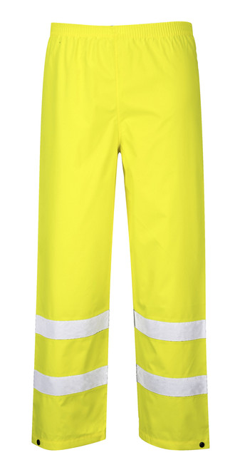 Portwest Hi-Vis Traffic Pants - SET OF TWO: Front View Yellow