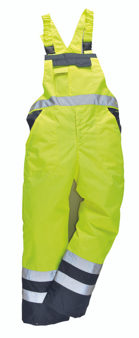 Portwest Contrast Bib @ Brace - Lined: Front View Yellow